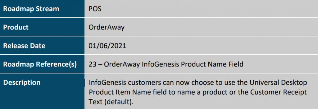 OrderAway InfoGenesis Product Name Field Image